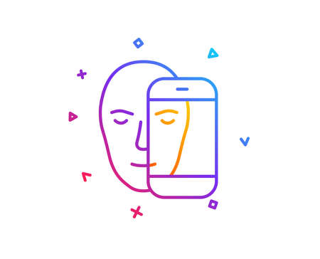 Face biometrics line icon. Facial recognition by phone sign. Head scanning symbol. Gradient line button. Face biometrics icon design. Colorful geometric shapes. Vector
