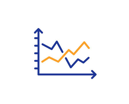 Diagram chart line icon. Presentation graph sign. Market analytics symbol. Colorful outline concept. Blue and orange thin line color Diagram chart icon. Vector