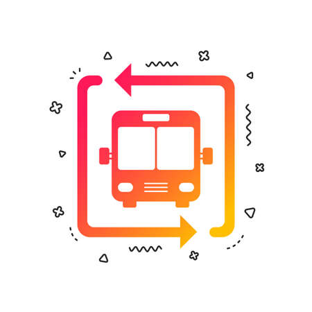 Bus shuttle icon. Public transport stop symbol. Colorful geometric shapes. Gradient bus shuttle icon design.  Vector