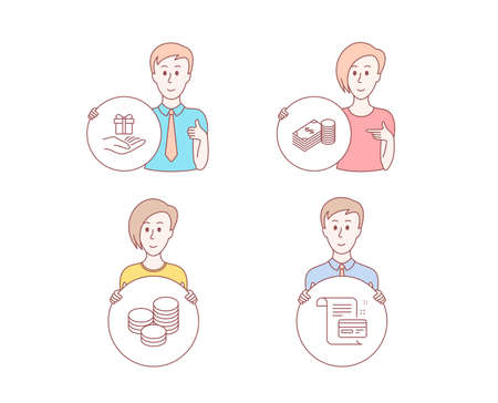 People set of Savings, Tips and Loyalty program icons. Payment card sign. Finance currency, Cash coins, Gift. Agreement conditions. Character hold circle button. People vector Çizim