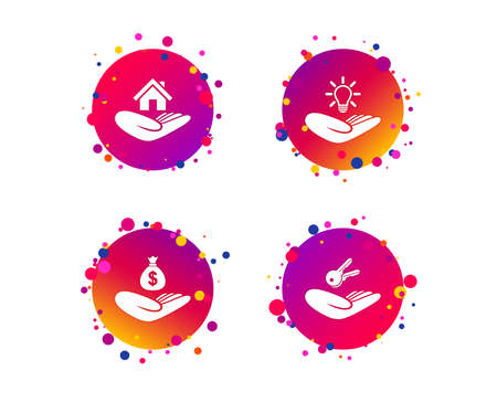 Helping hands icons. Financial money savings insurance symbol. Home house or real estate and lamp, key signs. Gradient circle buttons with icons. Random dots design. Vector Illustration