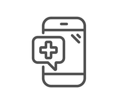 Medicine phone line icon. Mobile medical help sign. Quality design flat app element. Editable stroke Medical phone icon. Vector Banque d'images - 112673278