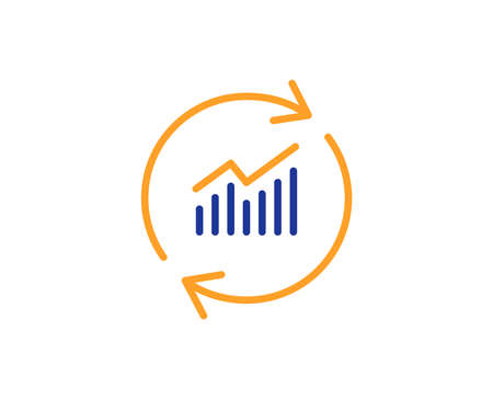 Chart line icon. Update Report graph or Sales growth sign. Analysis and Statistics data symbol. Colorful outline concept. Blue and orange thin line color icon. Update data Vector Vecteurs