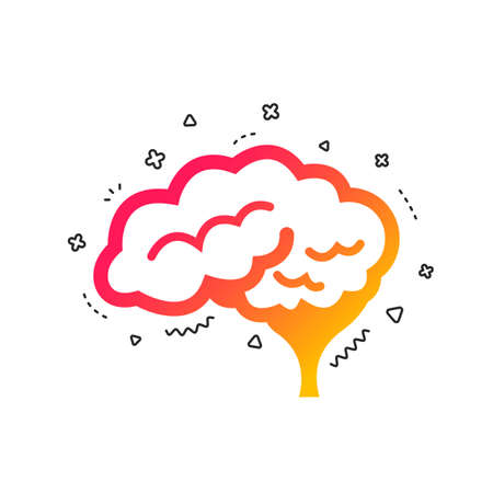 Brain with cerebellum sign icon. Human intelligent smart mind. Colorful geometric shapes. Gradient neurology icon design.  Vector