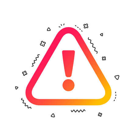 Attention sign icon. Exclamation mark. Hazard warning symbol. Colorful geometric shapes. Gradient attention icon design.  Vector