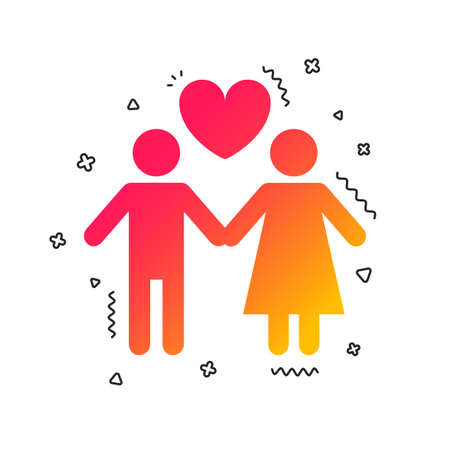 Couple sign icon. Male love female. Lovers with heart. Colorful geometric shapes. Gradient couple icon design.  Vector