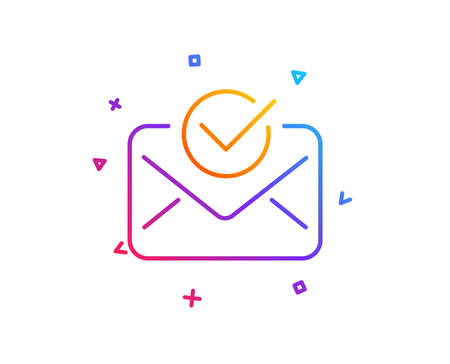 Approved mail line icon. Accepted or confirmed sign. Document symbol. Gradient line button. Approved mail icon design. Colorful geometric shapes. Vector