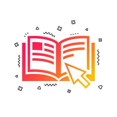 Anweisungszeichen-Symbol. Manuelles Buchsymbol. Vor Benutzung lesen. Bunte geometrische Formen. Farbverlaufsanweisung Icon-Design. Vektor Vektorgrafik
