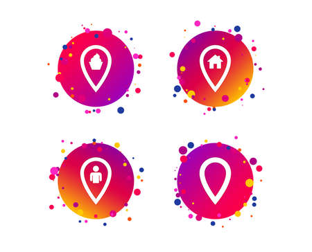 Map pointer icons. Home, food and user location symbols. Restaurant and cupcake signs. You are here. Gradient circle buttons with icons. Random dots design. Vector