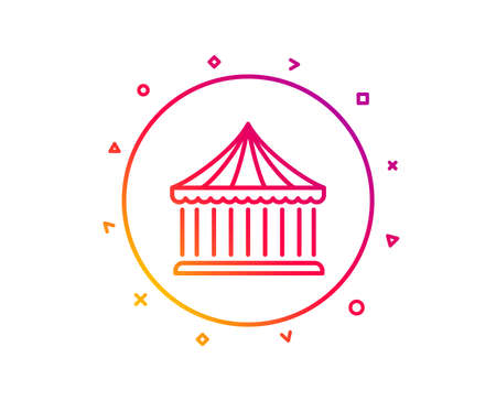 Carousels line icon. Amusement park sign. Gradient pattern line button. Carousels icon design. Geometric shapes. Vector