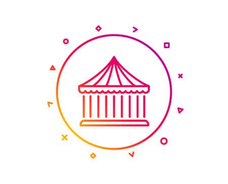 Carousels line icon. Amusement park sign. Gradient pattern line button. Carousels icon design. Geometric shapes. Vector