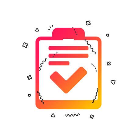 Checklist sign icon. Control list symbol. Survey poll or questionnaire feedback form. Colorful geometric shapes. Gradient checklist icon design.  Vector