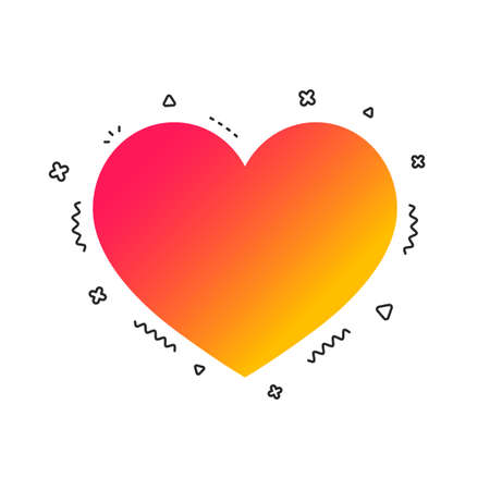 Love icon. Heart sign symbol. Colorful geometric shapes. Gradient heart icon design.  Vector