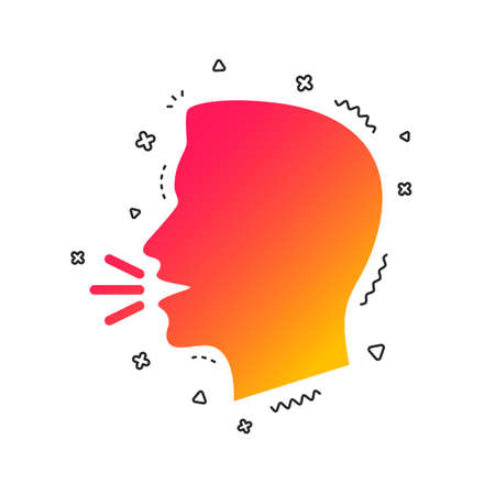 Talk or speak icon. Loud noise symbol. Human talking sign. Colorful geometric shapes. Gradient talk icon design.  Vector