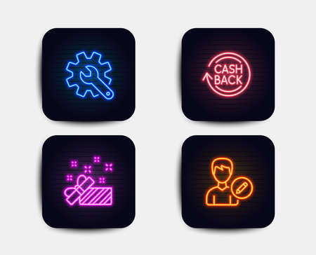 Neon set of Present, Cashback and Customisation icons. Edit person sign. Gift, Refund commission, Settings. Change user info. Neon icons. Glowing light banners. Present vector