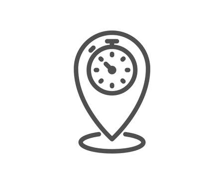 Timer line icon. Time sign. Location pointer symbol. Quality design flat app element. Editable stroke Timer icon. Vector Çizim