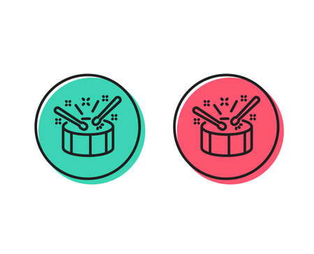 Drums with drumsticks line icon. Music sign. Musical instrument symbol. Positive and negative circle buttons concept. Good or bad symbols. Drums Vector Illustration
