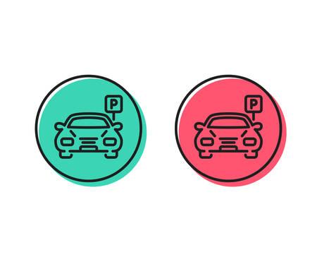 Car parking line icon. Auto park sign. Transport place symbol. Positive and negative circle buttons concept. Good or bad symbols. Parking Vector