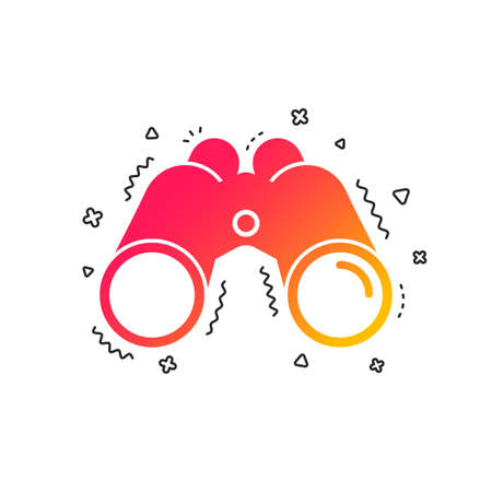 Binoculars icon. Find software sign. Spy equipment symbol. Colorful geometric shapes. Gradient Binoculars icon design.  Vector