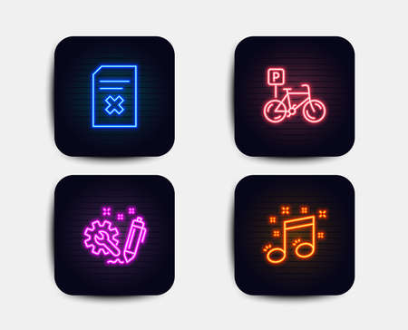Neon set of Engineering, Delete file and Bicycle parking icons. Musical note sign. Construction, Remove document, Bike park. Music. Neon icons. Glowing light banners. Vector