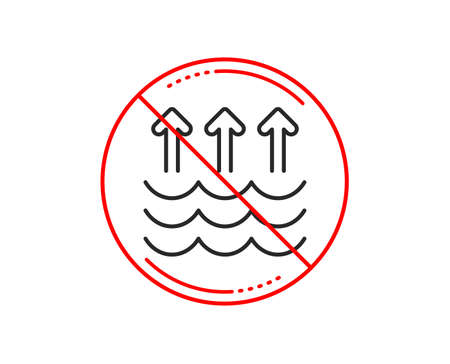 No or stop sign. Evaporation line icon. Global warming sign. Waves symbol. Caution prohibited ban stop symbol. No  icon design.  Vector