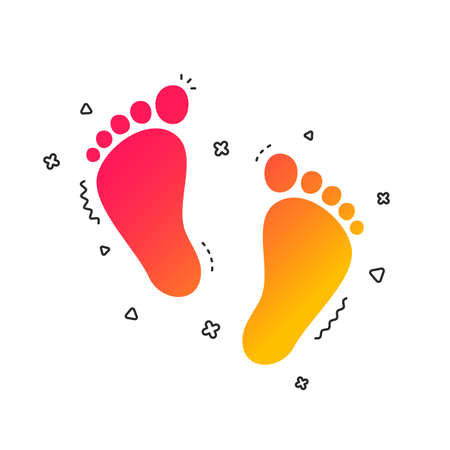Child pair of footprint sign icon. Toddler barefoot symbol. Baby's first steps. Colorful geometric shapes. Gradient footprint icon design. Vector Vetores