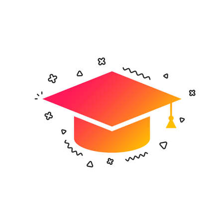 Graduation cap sign icon. Higher education symbol. Colorful geometric shapes. Gradient graduation cap icon design.  Vector