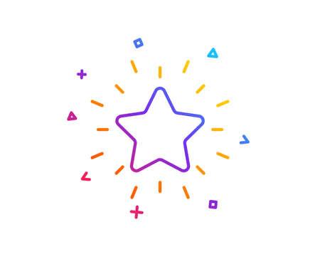 """Rang Sternsymbol. Erfolgs-Belohnungssymbol. Bestes Ergebniszeichen. Schaltfläche """"Farbverlaufslinie"""". Rang Stern-Icon-Design. Bunte geometrische Formen. Vektor"""