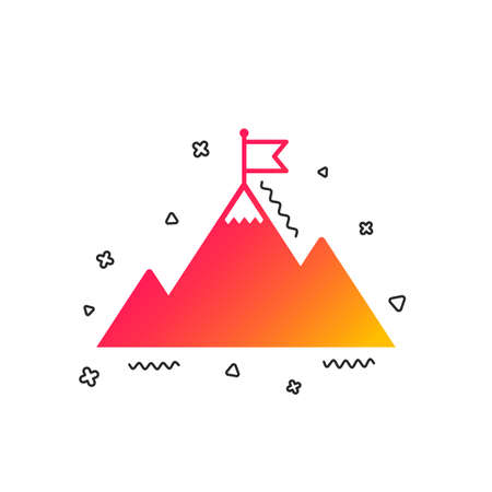 Flag on mountain icon. Leadership motivation sign. Mountaineering symbol. Colorful geometric shapes. Gradient Flag on mountain icon design.  Vector