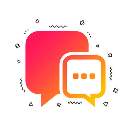 Chat sign icon. Speech bubble with three dots symbol. Communication chat bubble. Colorful geometric shapes. Gradient message icon design.  Vector