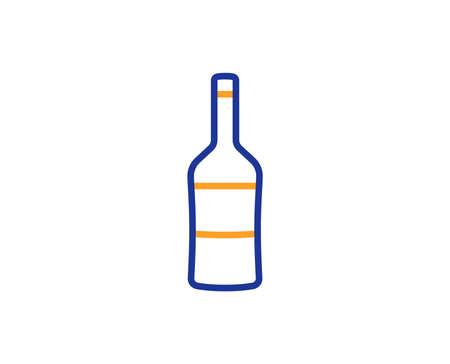 Wine bottle line icon. Merlot or Cabernet Sauvignon sign. Colorful outline concept. Blue and orange thin line color icon. Wine Vector
