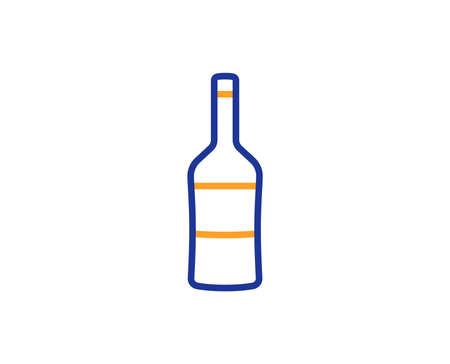 Wine bottle line icon. Merlot or Cabernet Sauvignon sign. Colorful outline concept. Blue and orange thin line color icon. Wine Vector