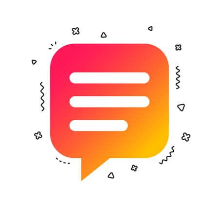 Chat sign icon. Speech bubble symbol. Communication chat bubble. Colorful geometric shapes. Gradient chat icon design.  Vector Ilustração