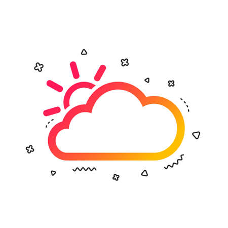 Cloud and sun sign icon. Weather symbol. Colorful geometric shapes. Gradient weather icon design.  Vector Illustration
