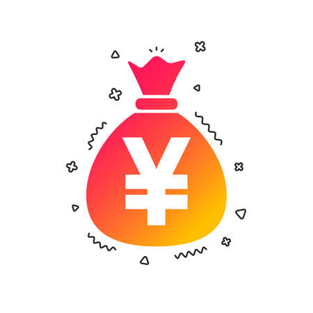 Money bag sign icon. Yen JPY currency symbol. Colorful geometric shapes. Gradient money icon design.  Vector 向量圖像