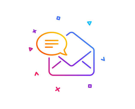 New Mail line icon. Message correspondence sign. E-mail symbol. Gradient line button. New Mail icon design. Colorful geometric shapes. Vector