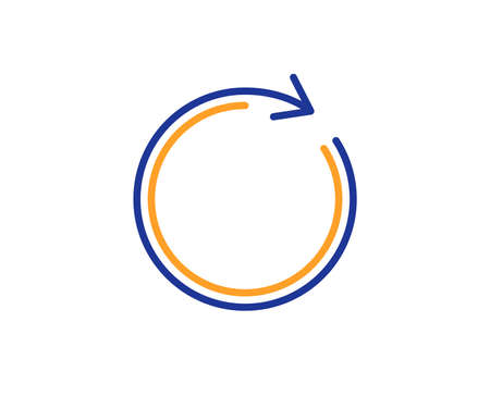 Refresh line icon. Rotation arrow sign. Reset or Reload symbol. Colorful outline concept. Blue and orange thin line color icon. Synchronize Vector
