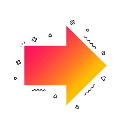 Icône de signe de flèche. bouton suivant. Symbole de navigation. Formes géométriques colorées. Conception d'icône de flèche de dégradé. Vecteur Vecteurs