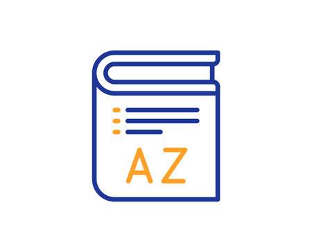 Symbol für die Wortschatzzeile. Buch-Glossar-Zeichen. Buntes Umrisskonzept. Blaue und orangefarbene dünne Linie Wortschatzsymbol. Vektor Vektorgrafik