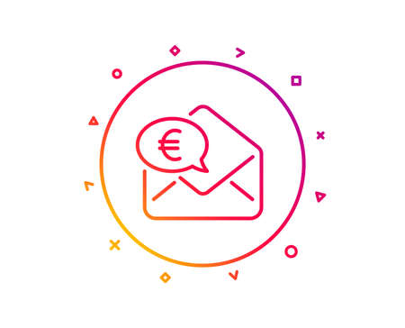 Euro via mail line icon. Send or receive money sign. Gradient pattern line button. Euro money icon design. Geometric shapes. Vector