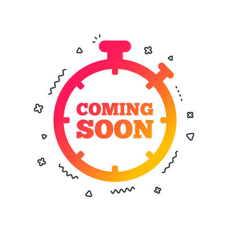 Coming soon sign icon. Promotion announcement symbol. Colorful geometric shapes. Gradient coming soon icon design.  Vector Illustration