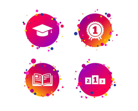 Graduation icons. Graduation student cap sign. Education book symbol. First place award. Winners podium. Gradient circle buttons with icons. Random dots design. Vector 向量圖像