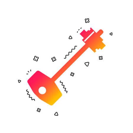 Key sign icon. Unlock tool symbol. Colorful geometric shapes. Gradient key icon design.  Vector Illustration