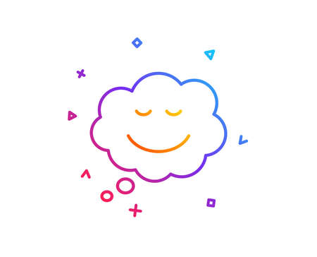 Comic speech bubble with Smile line icon. Chat emotion sign. Gradient line button. Speech bubble icon design. Colorful geometric shapes. Vector
