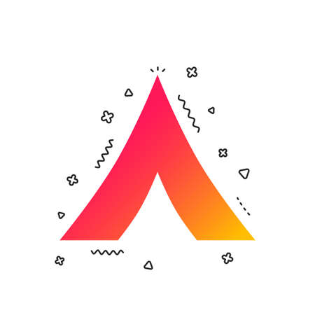 Tourist tent sign icon. Camping symbol. Colorful geometric shapes. Gradient camping icon design.  Vector Stock Vector - 112673963