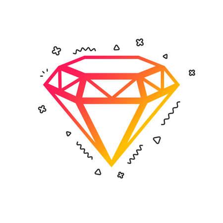 Diamond sign icon. Jewelry symbol. Gem stone. Colorful geometric shapes. Gradient brilliant icon design.  Vector