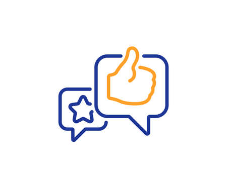 Star, like hand line icon. Feedback rating sign. Customer satisfaction symbol. Colorful outline concept. Blue and orange thin line color Like icon. Vector