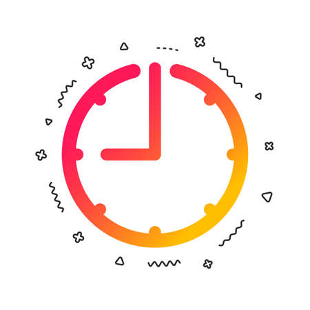 Clock time sign icon. Watch or timer symbol. Colorful geometric shapes. Gradient clock icon design.  Vector Illusztráció