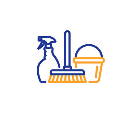 Cleaning service line icon. Spray, bucket and mop symbol. Housekeeping equipment sign. Colorful outline concept. Blue and orange thin line color icon. Household service Vector