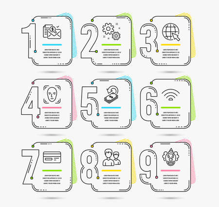 Infographic template with numbers 9 options. Set of Credit card, Work and Internet icons. Couple, Wifi and Cashback signs. Accounting report, Face detection and Clown symbols. Vector